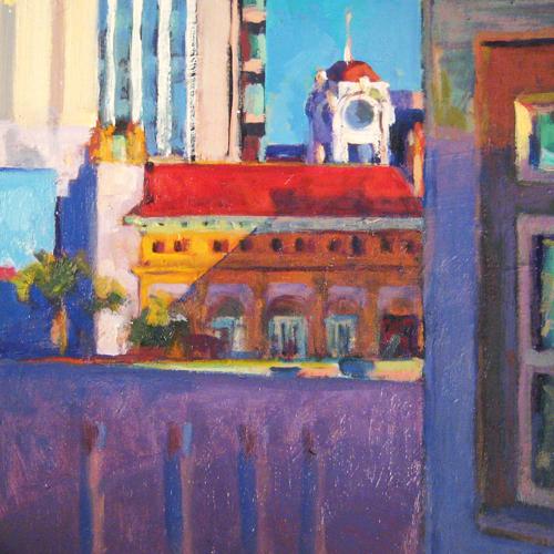 "Spurgeon Tower III • Joe Forkan 2008 oil on panel 10"" x 10"""