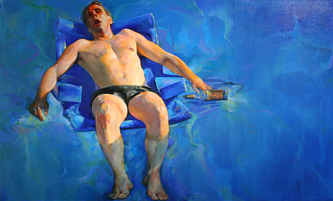 "The Death of Marat (After David) • Joe Forkan 2008, oil on linen, 96"" x 58"""
