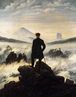 Wanderer above the Sea of Fog          Caspar David Friedrich   1818 Oil on canvas 37.3 in × 29.4 in Kunsthalle Hamburg, Hamburg, Germany