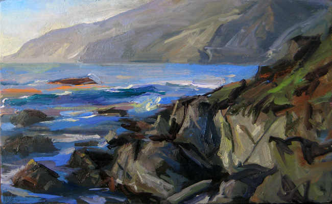 "Big Sur, Noon looking North • Joe Forkan 2009 oil on panel 13"" x 8"""