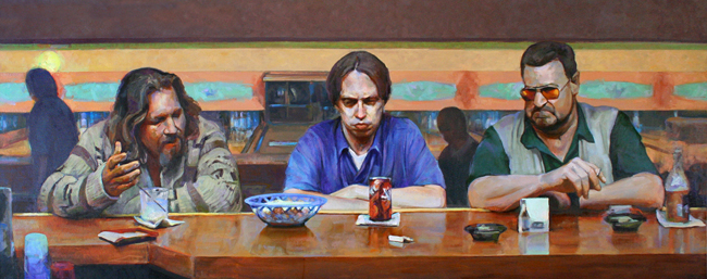 "Supper at Emmaus (After Caravaggio) • Joe Forkan 2006-2009 oil on linen 96""x 38"