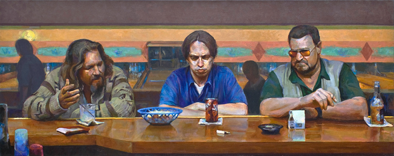 "Supper at Emmaus (After Caravaggio) • Joe Forkan 2006-2009 oil on linen 96""x 38"""