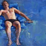 "The Death of Marat - reworked study (After David) • Joe Forkan 2012, oil on panel, 38"" x 24"""