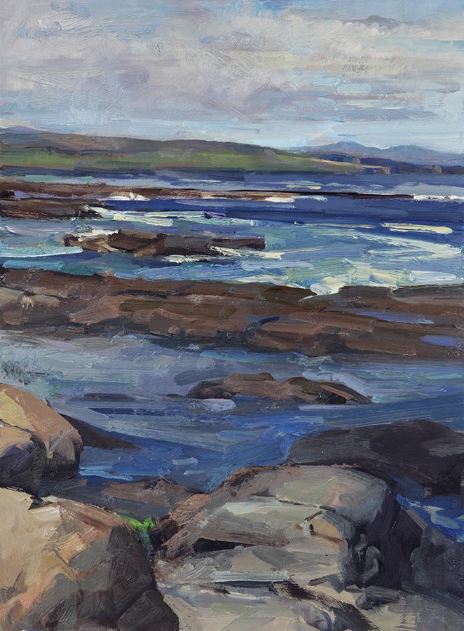 """Downpatrick Looking South • Joe Forkan 2012, oil on ragcote paper, 14"""" x 18.5"""""""