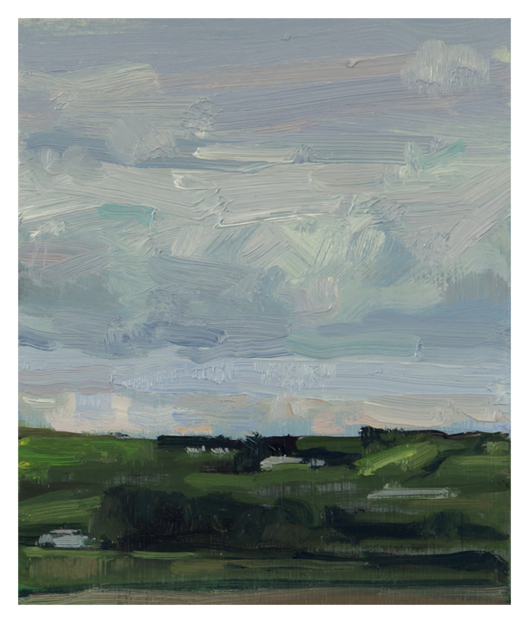 "North 03 • Joe Forkan 2012, oil on ragcote paper, 5.375"" x 6.5"""