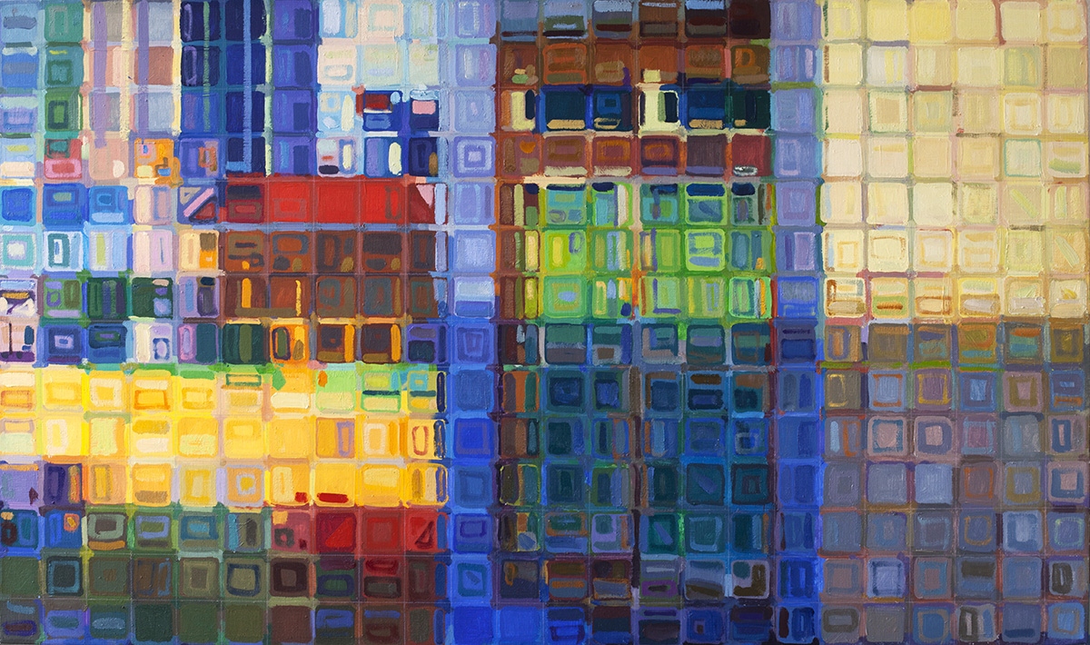 "Spurgeon Tower Rooftops • Joe Forkan 2013 Oil on Linen 48"" x 28"""